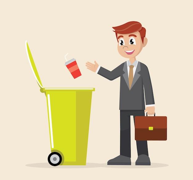 Businessman throw garbage in trash bin.