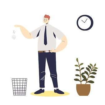 Бизнесмен, бросая скомканный бумажный шарик в мусорное ведро. мультипликационный мужской персонаж, деловой человек, офисный работник или менеджер