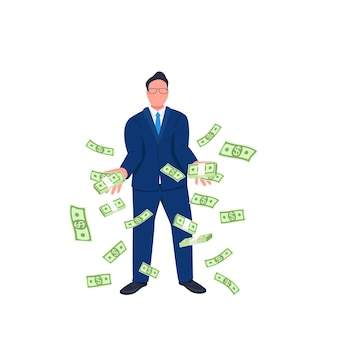 Businessman throwing money up flat concept illustration