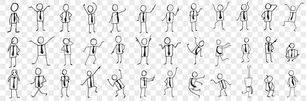 Businessman in tie doodle set. collection of hand drawn silhouettes of businessman in tie expressing emotions with hands isolated.
