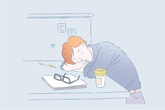 ビジネスマンはオフィスで仕事中に昼寝をしました