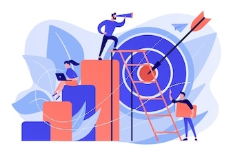 Businessman on top looking into telescope and employees. business opportunity, bizopp and franchising, distribution concept on white background. Free Vector