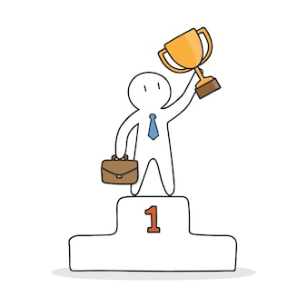 Businessman on the top of a podium
