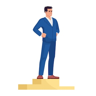 ビジネスマンのトップは、セミフラットrgbカラーベクトルイラストを配置します。表彰台で成功した起業家は、白い背景の上の漫画のキャラクターを分離しました。市場のリーダーシップと野心の概念