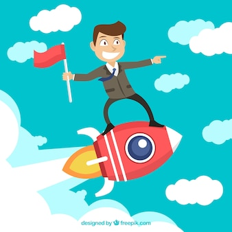Businessman on top of a rocket