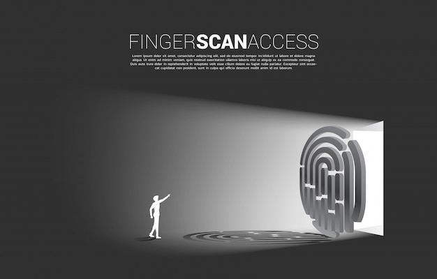 Businessman touch thumbprint on finger scan icon to access the gate