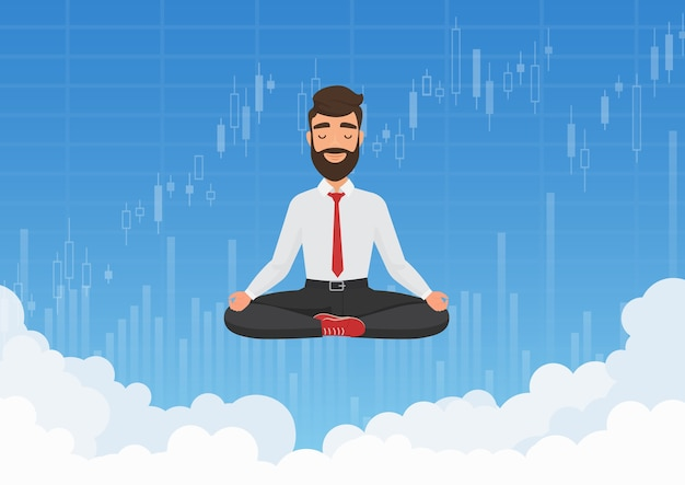 空で瞑想するビジネスマンのトレーダー。証券取引所グラフチャートの背景と雲の上でリラックス瞑想の実業家