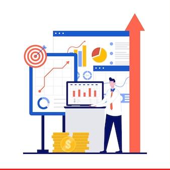 사업 거래 및 평면 디자인 성공 구축