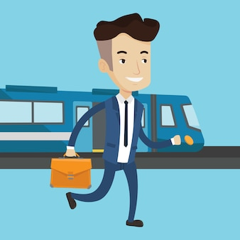 Businessman at train station illustration.