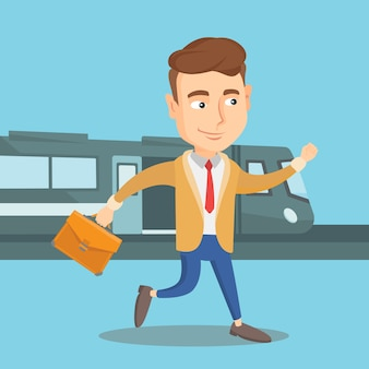 Businessman at train station vector illustration.