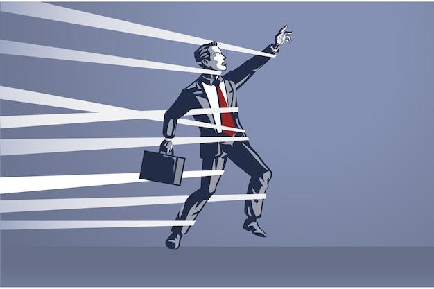 ビジネスマンが閉じ込められ、自由に動くことができないブルーカラー