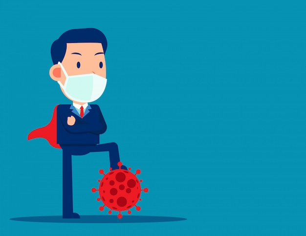 Символ протектора коронавируса бизнесмена. подавить вирус ковид-19