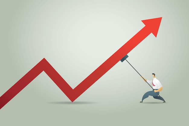 Businessman tries stick to push up red arrow graph