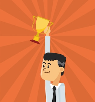 Businessman and trophy icon