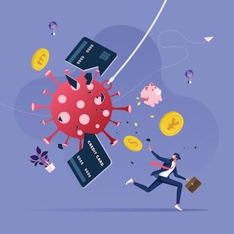 ビジネスマンがコロナウイルスの発生からの脱出を試みる-金融危機の概念