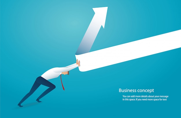 Businessman try to lift the arrow up