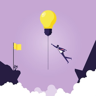 Бизнесмен пытается повесить идею лампочки через обрыв, символ лидерства Premium векторы