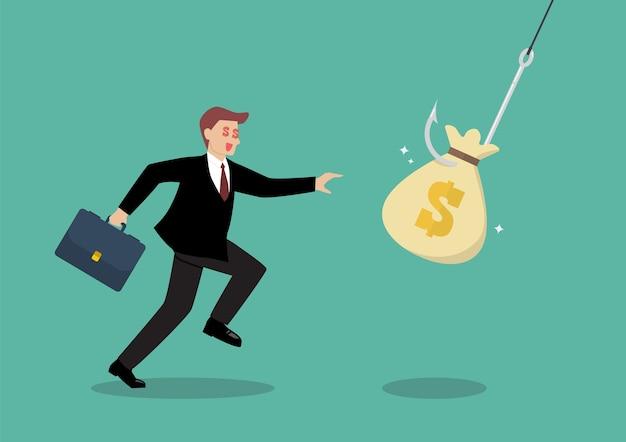 ビジネスマンは、フックのトラップからお金の袋を選んでみてください
