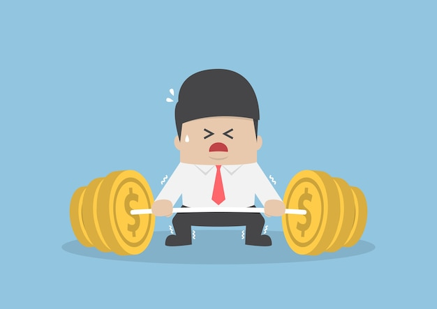 Businessman trying hard to lifting up barbell with coin