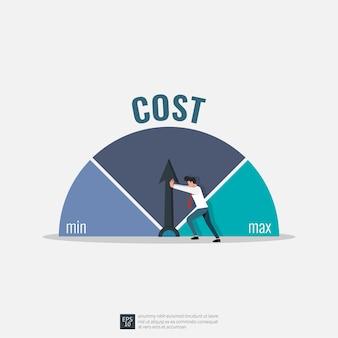 최소 위치 그림에 비용을 추진하려고하는 사업가. 비용 절감 전략 개념.