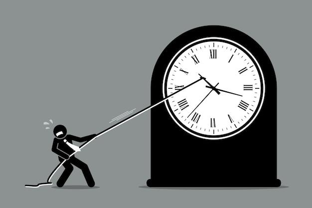 Бизнесмен пытается остановить движение часов.