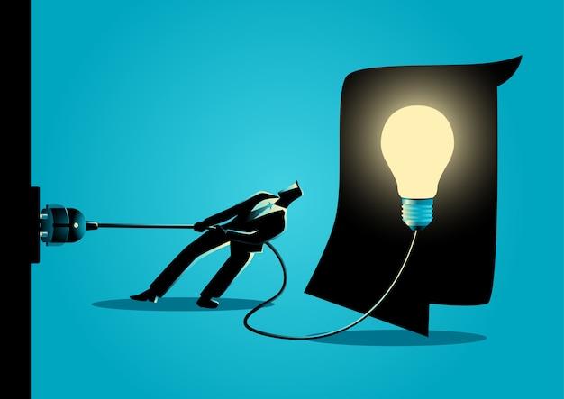電球の脳を抜き取ろうとしているビジネスマン