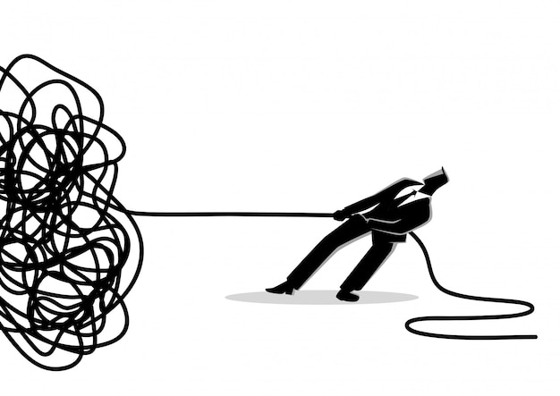 Бизнесмен пытается распутать запутанную веревку или кабель