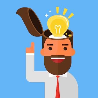 ビジネスマンは電球のアイデアをオンにする