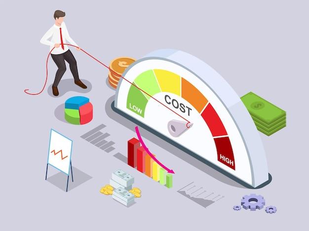 ビジネスマンは、高レベルから低レベル、フラットベクトル等角図にロープで品質メーターの矢印を戻します。価格管理。コスト削減戦略。