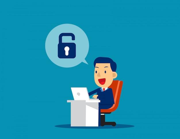 Businessman unlock. concept business technology vector illustration, achievment, successful