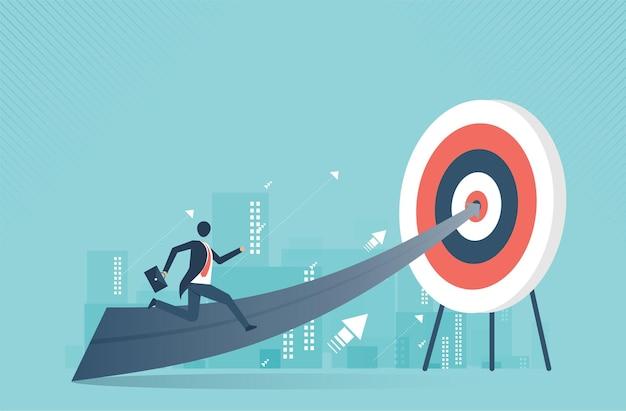 목표 리더십 비즈니스 개념 성장과 성공의 길로 가는 계단을 올라가는 사업가