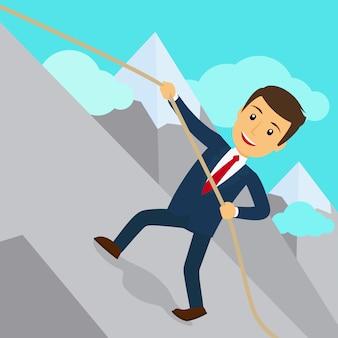 Businessman uphill climb