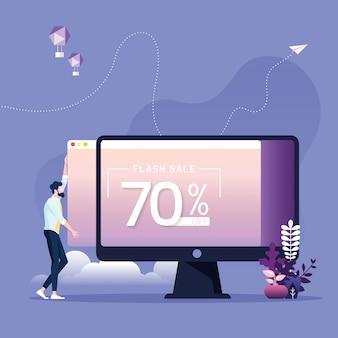 웹 사이트에 판매 배너를 업로드하는 사업가-온라인 마케팅 개념