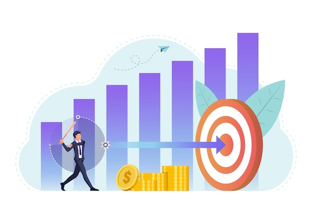 Businessman use baseball bat hit arrow to center of target. business target success and goal achieve concept.