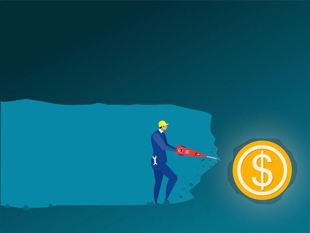 ビジネスマンは、ドル硬貨を発見するために地下にドリル マシンを使用します。