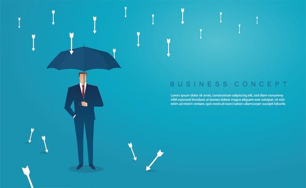 Businessman use umbrella to protecting arrow down