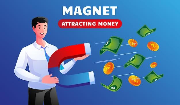 磁石を使用してビジネスマンはお金を引き付ける