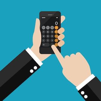 スマートフォンで電卓アプリケーションを使用しているビジネスマン。ベクトルイラスト