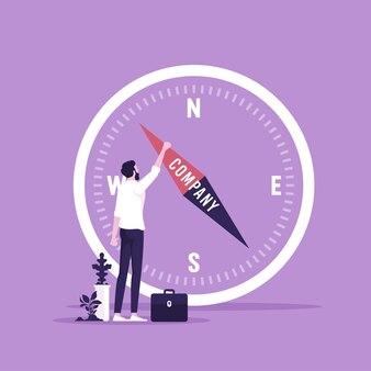 ビジネス戦略概念ベクトルのナビゲーションと方向にコンパスを使用するビジネスマン