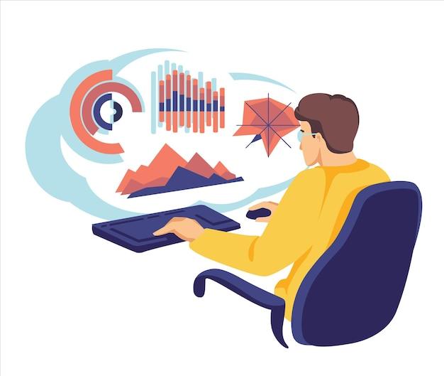 コンピューターを使用しているビジネスマンは、クラウドコンピューティング技術に関する情報とデータをアップロードおよびダウンロードします