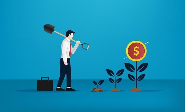お金の木のイラストを植えるために掘るシャベルを使用しているビジネスマン。成功のためのビジネスコンセプト