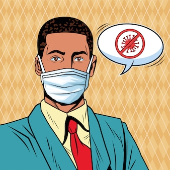 Businessman using face mask and stop covid19 message pop art style