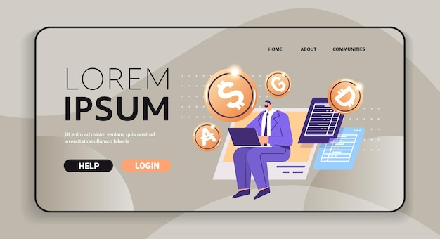 Businessman using laptop golden crypto coin cryptocurrency mining virtual money digital currency blockchain