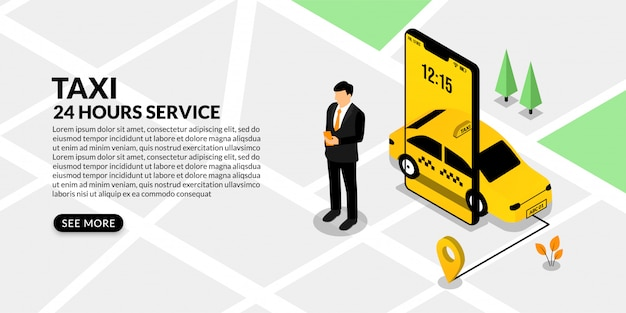Businessman using mobile booking taxi, isometric online taxi service concept