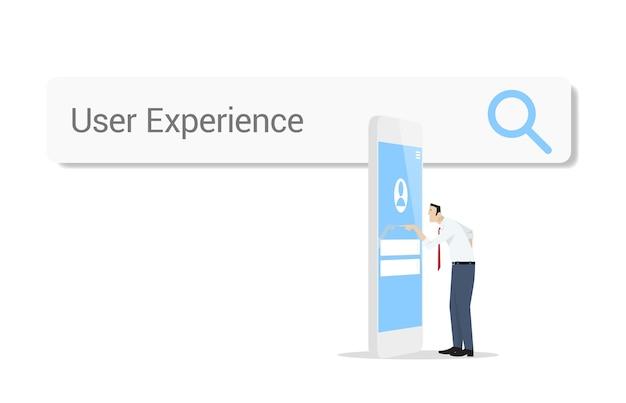 白い背景の上のウェブ検索バーに対してスマートフォンを使用してビジネスマン。ユーザーエクスペリエンス-インターフェイスデザインコンセプト。