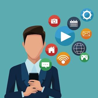 Businessman using smartphones apps