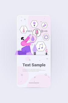 Businessman using smartspeaker recognizes voice commands and controlling smart home system vertical copy space full length vector illustration