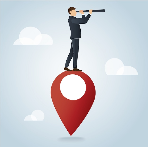 Businessman using a telescope on pin icon