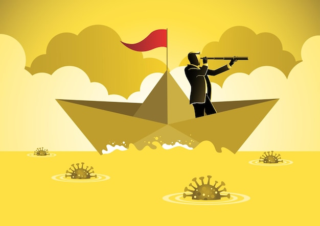 A businessman using telescope sailing forward on a paper boat to overcome the corona virus. business concept illustration
