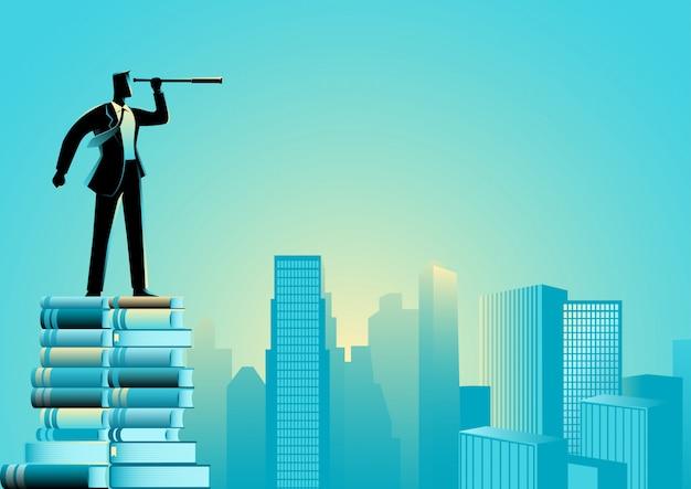 Businessman using telescope standing on pile of books
